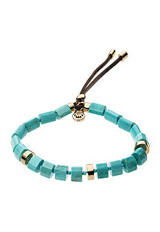 Michael Kors Jewelry Gold and Turquoise Stretch Bracelet
