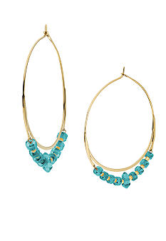 Michael Kors Jewelry Gold and Turquoise Whisper Hoop Earrings