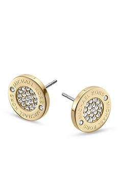 Michael Kors Gold Tone Logo with Clear Pave Center Stud Earrings