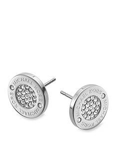 Michael Kors Silver Logo Pave Stud Earrings