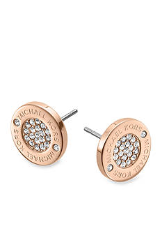 Michael Kors Rose Gold Tone Logo with Clear Pave Center Stud Earrings