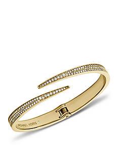 Michael Kors Gold Tone Pave Matchstick Hinge Open Cuff Bracelet