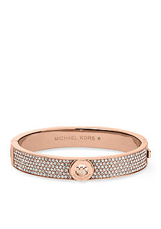 Michael Kors Rose Gold-Tone Clear Pave Fulton Hinge Bangle Bracelet