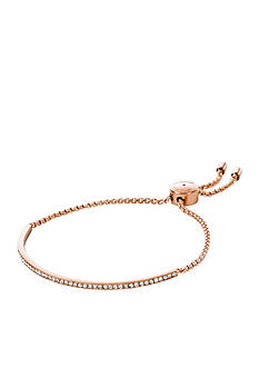 Michael Kors Rose Gold-Tone Pave Bar Slider Bracelet