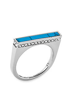 Michael Kors Silver-Tone Pave Turquoise Bar Ring