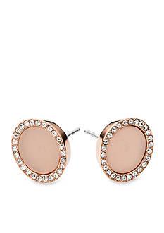 Michael Kors Rose Gold-Tone Blush Pave Stud Earring