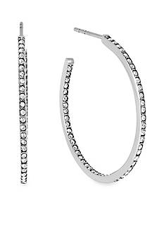 Michael Kors Silver-Tone Pave Small Hoop Earring