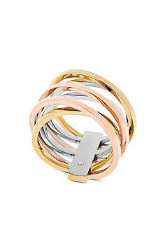 Michael Kors Tri-Tone Criss-Cross Ring