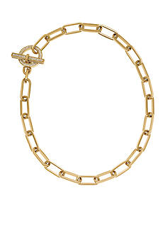 Michael Kors Gold-Tone Pave Embellishment Chain Link Necklace