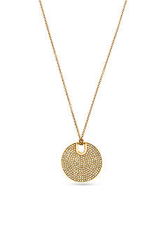 Michael Kors Gold-Tone and Pave Disc Pendant Necklace