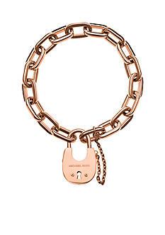 Michael Kors Rose Gold-Tone Padlock Charm Bracelet