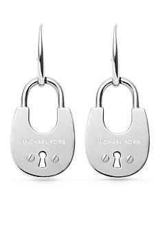 Michael Kors Silver-Tone Padlock Drop Earrings