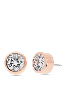 Michael Kors Rose Gold-Tone Clear Crystal Stud Earrings
