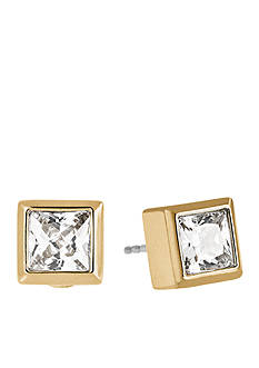 Michael Kors Gold-Tone CZ Princess Cut Stud Earrings