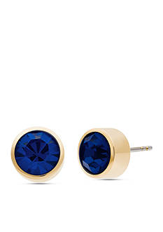 Michael Kors Gold-Tone Navy Crystal Stone Stud Earrings