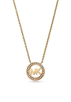 Michael Kors Gold-Tone Pave Crystal Logo Pendant Necklace