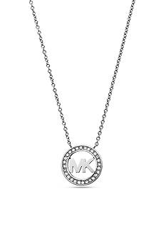 Michael Kors Silver-Tone Pave Crystal Logo Pendant Necklace