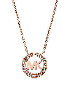 Michael Kors Rose Gold-Tone Pave Crystal Logo Pendant Necklace