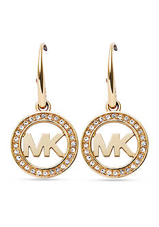 Michael Kors Gold-Tone Pave Crystal Logo Drop Earrings