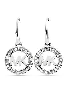 Michael Kors Silver-Tone Pave Crystal Logo Drop Earrings