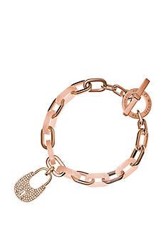Michael Kors Rose Gold-Tone Pave Embellished Padlock Charm Bracelet