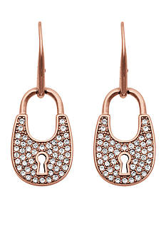 Michael Kors Rose Gold-Tone Pave Embellished Padlock Drop Earrings