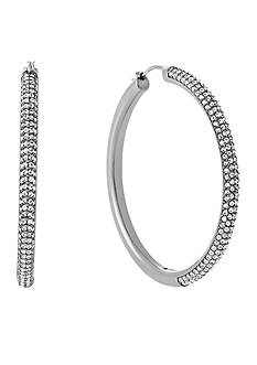 Michael Kors Silver-Tone Pave Embellished Hoop Earrings