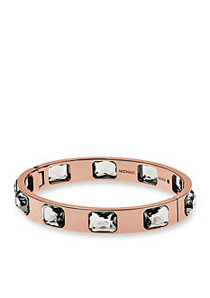 Michael Kors Rose-Gold Tone Radiant-Cut Grey Crystal Bangle Bracelet