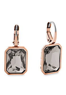 Michael Kors Rose-Gold Tone Radiant-Cut Grey Crystal Delicate Drop Earrings