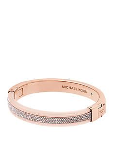 Michael Kors Rose Gold-Tone Pave Crystal Hinge Bangle Bracelet