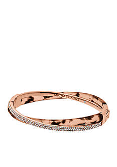 Michael Kors Rose Gold-Tone Twist Pave Embellished Bangle Bracelet