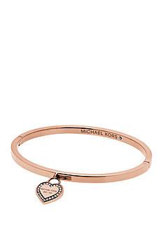 Michael Kors Rose Gold-Tone Pave Embellished Heart Charm Bracelet