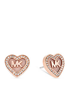 Michael Kors Rose Gold- Tone 'MK' Heart Pave Crystal Halo Stud Earrings