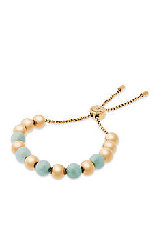 Michael Kors Gold-Tone and Semi Precious Amazonite Beaded Slider Bracelet