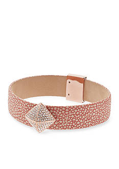 Michael Kors Rose Gold-Tone and Blush Leather Bracelet