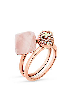 Michael Kors Rose Gold-Tone and Semi Precious Rose Quartz Ring Set