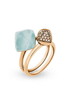 Michael Kors Gold-Tone and Semi Precious Amazonite Ring Set