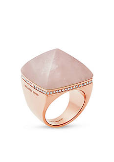 Michael Kors Semi Precious Rose Quartz Ring in Rose Gold-Tone
