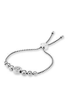 Michael Kors Silver-Tone Cubic Zirconia Logo Adjustable Bracelet