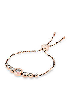 Michael Kors Rose Gold-Tone and Cubic Zirconia Logo Adjustable Bracelet