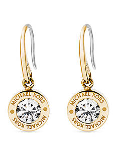 Michael Kors Gold-Tone and Cubic Zirconia Logo Earring