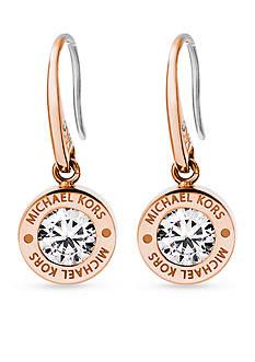 Michael Kors Rose Gold-Tone Cubic Zirconia Logo Drop Earring