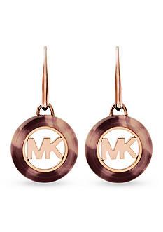 Michael Kors Rose Gold-Tone and Blush Tort Acetate Logo Earring