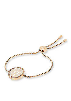 Michael Kors Gold-Tone MK Logo Pendant Adjustable Bracelet