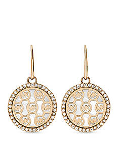 Michael Kors Gold-Tone MK Logo Drop Earring