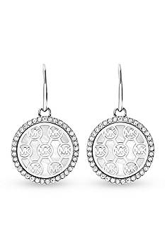 Michael Kors Silver-Tone MK Logo Drop Earring
