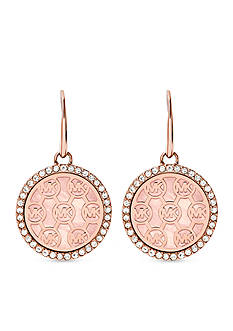 Michael Kors Rose Gold-Tone MK Logo Drop Earring