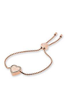Michael Kors Rose Gold-Tone Halo Heart Slider Bracelet
