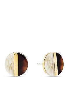 Michael Kors Gold-Tone Tortoise and Horn Acetate Earring