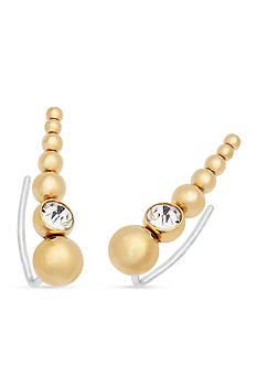 Michael Kors Jewelry Gold-Tone and Crystal Ear Crawlers Earrings